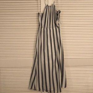 White and black Loft maxi dress